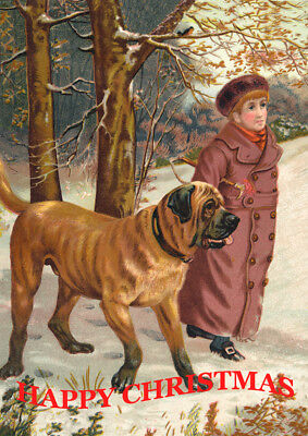 MASTIFF & CHILD IN SNOW SINGLE DOG PRINT GREETING CHRISTMAS CARD