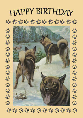 ELKHOUND DOG BIRTHDAY GREETINGS NOTE CARD