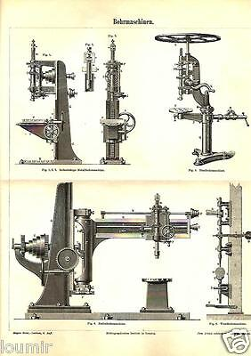 1888= MACCHINE FORATRICI = Industria = STAMPA Antica = Old Engraving