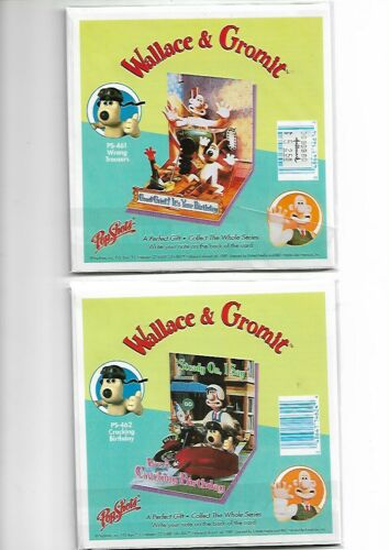 Lot 2 NEW Wallace and Gromit popup birthday cards popshots pop shots 1989 NOS