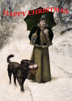 FLAT COATED RETRIEVER & LADY IN SNOW SINGLE DOG PRINT GREETING CHRISTMAS CARD