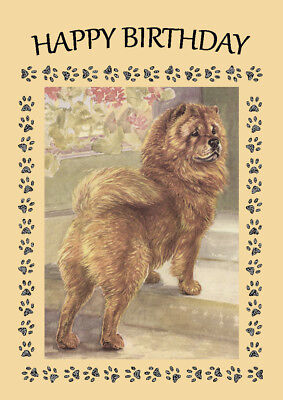 CHOW CHOW DOG BIRTHDAY GREETINGS NOTE CARD