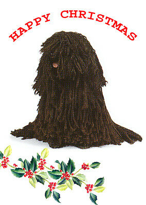 HUNGARIAN PULI SINGLE DOG PRINT GREETING CHRISTMAS CARD