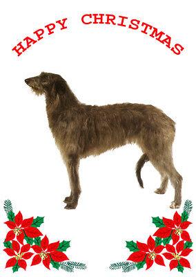 DEERHOUND SINGLE DOG PRINT GREETING CHRISTMAS CARD
