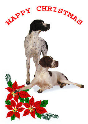 POINTER SINGLE DOG PRINT GREETING CHRISTMAS CARD