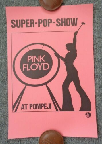 Pink Floyd Poster 1972 Swiss Rock & Roll Cinema Concert In Pompeii Rare Design