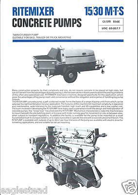 Equipment Brochure - Ritemixer Concrete Cement Pump Mixer C1977 Set Of 5 E2305