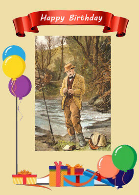 INGS CARD ANGLER FISHERMAN FLY FISHING (Happy Birthday Fisherman)