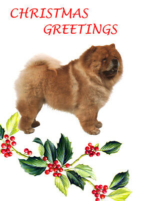 CHOW CHOW SINGLE DOG PRINT GREETING CHRISTMAS CARD