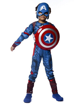 Captain America Shield For Kids (Cosplay Captain America Muscle Costume for Kids Boys with Mask and)