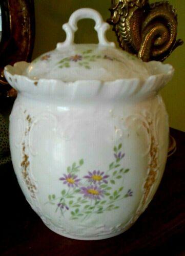 BISCUIT JAR Porcelain France Crown Mark Hand Painted