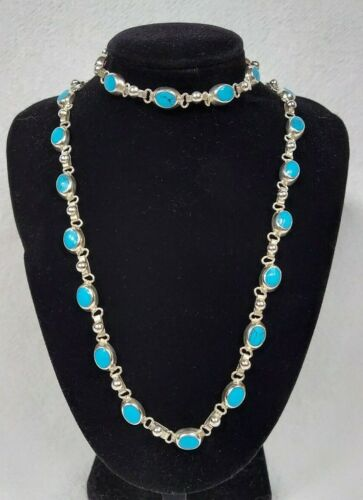 STUNNING NECKLACE BRACELET .925 STERLING SILVER AND TURQOUISE? SET MEXICO 79 GR