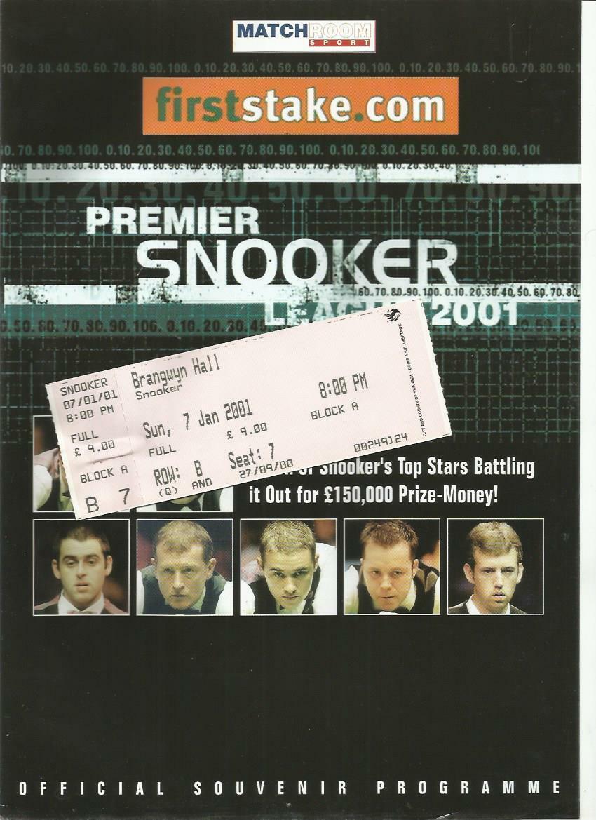 2001 PREMIER SNOOKER LEAGUE Mark Williams v John Higgins  Programme and Ticket