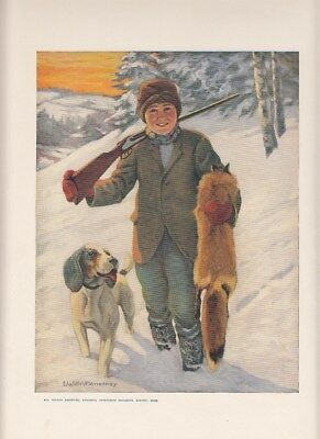 Antique NATIONAL SPORTSMAN magazine DECEMBER 1919 Cover Print  boy fox hunter