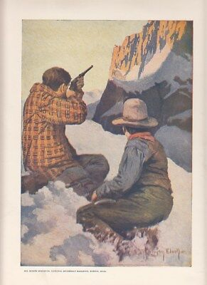 Antique 1910-20's NATIONAL SPORTSMAN magazine Cover Print mountain sheep hunting