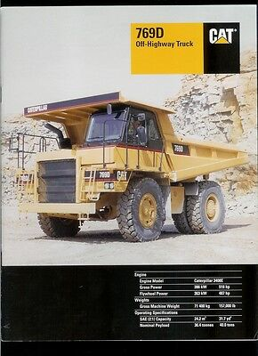 Rare Original Factory 2001 Caterpillar 769d Off-highway Truck Dealer Brochure