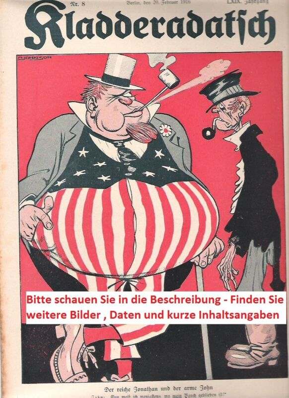 1914 1915 1916 1917 1918 Kladderadatsch Karikatur Zeitschrift 1. Weltkrieg WW1