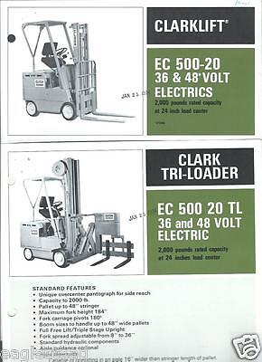 Fork Lift Truck Brochure - Clark - Ec500 20 Et Al Electrics C1973 6 Item Lt160