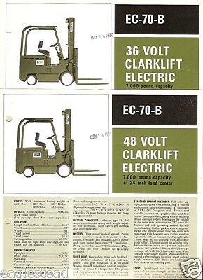 Fork Lift Truck Brochure - Clark - Ec-70-b - 3648 V Electric 1970 2 Item Lt111