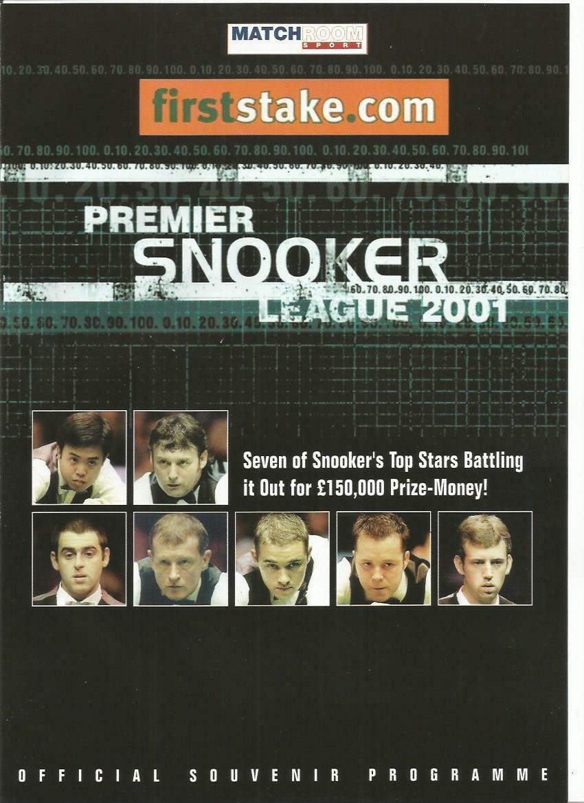 2001 PREMIER SNOOKER LEAGUE   Programme