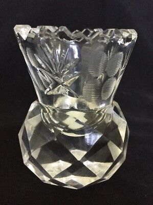 Toothpick Holder Etched Glass With Sawtooth Edge