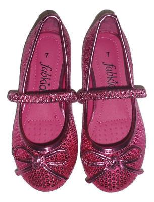NEW FabKids Toddler Girls Pink Sequin Ballet Flats Shoes Size 7 - Pink Toddler Flats