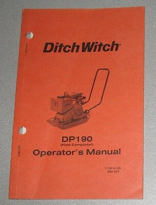 Ditch Witch Dp190 Plate Compactor Operators Owners Manual