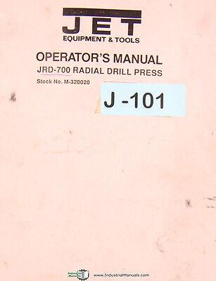 Jet Jrd-700 Radial Drill Press Operations And Parts Manual 1990
