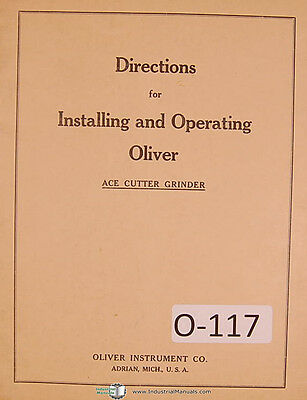 Oliver Ace Universal Tool Cutter Grinder Instruction For Operations Manual
