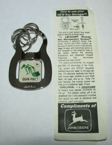 *RARE John Deere Promo Tractor Loader Quik Park Change LeClasp Key Chain Ring jd