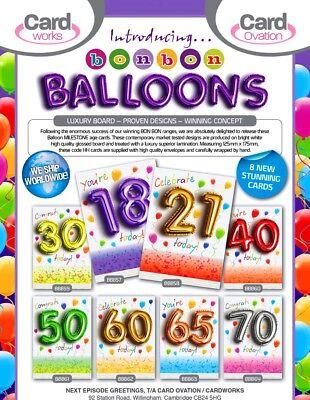 SENSATIONAL 'BON BON' MILESTONE 'BALLOON' CARDS x48-JUST 27p, SUPERB LAMINATION!