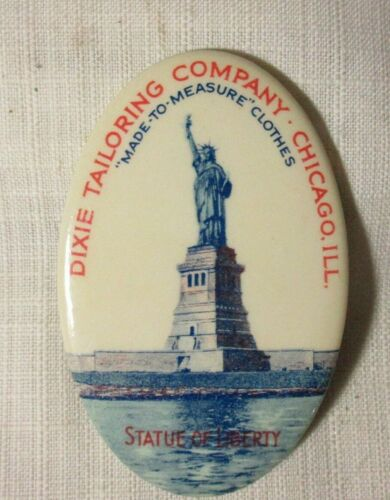 DIXIE TAILORING COMPANY ~ CHICAGO IL ~ STATUE LIBERTY  ~ CELLULOID POCKE MIRROR