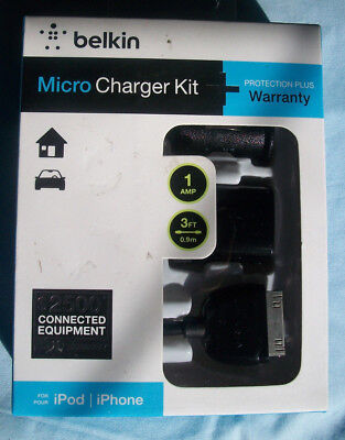New! Belkin Micro Charger Kit for iPhone iPod 3Ft Sync Cable Home, Auto (Belkin Micro Charger Kit For Ipod Iphone)
