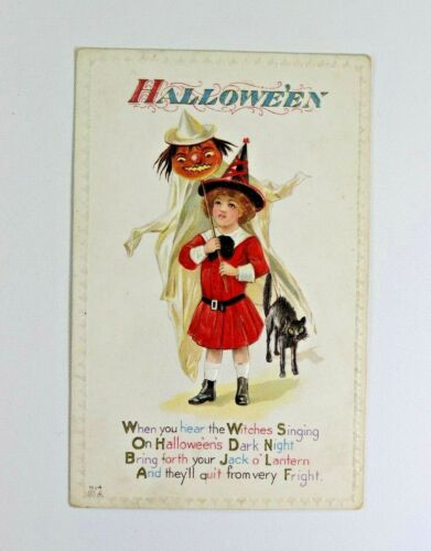 Antique Halloween Embossed Post Card Little Girl Dressed Witch Black Cat Parade