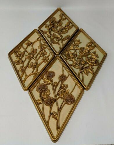 Vintage Syroco : Gold Diamond Shape of The Four Seasons Plaques Set : Wall Art