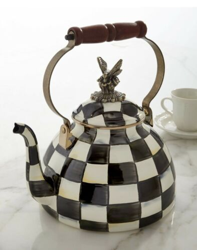 MacKenzie-Childs Courtly Check Enamel Tea Kettle with Butterfly - 3 Quart - NEW