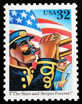 1997 32C STARS AND STRIPES FOREVER, TRUMPET SCOTT 3153 MINT F/VF NH