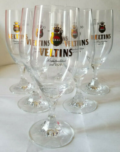 6x Veltins 0.4L Imported Chalice Glass LOT - NEW! UNUSED! FREE SHIPPING!