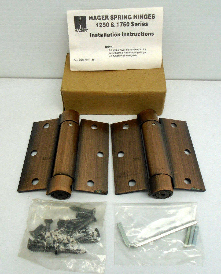 "Hager 1250 3.5/"" X 3.5/"" Full Mortise Spring Door Hinge US 15A 1 Pair 1623HW"