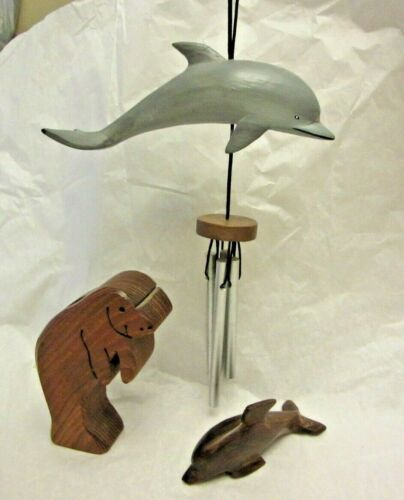 Vintage Carved Wood Dolphin, Manatee Pen Pencil Holder & Dolphin Wind Chime