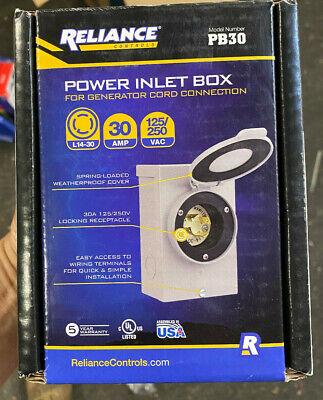 Reliance Controls Pb-30 Generator Power Cord Inlet Box 30 Amp New.