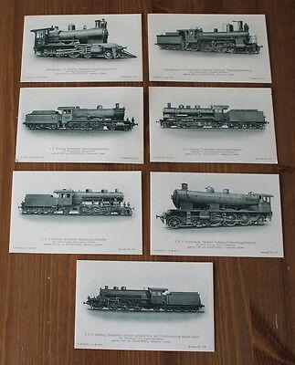 7 Original Ansichtskarten Firma Hanomag Lokomotive Eisenbahn 20/30iger Jahre