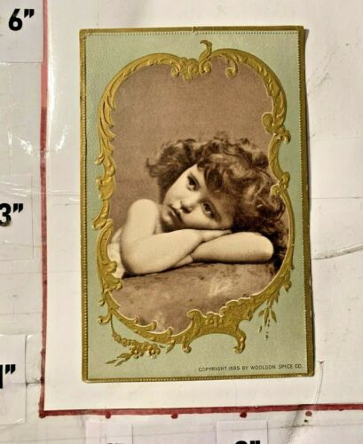 1895 Woolson Spice Co Cherub Card w Advertising Huron & Jackson St Toledo Ohio