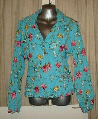 Johnny Was Blue Floral Embroidered Blazer Jacket Cotton Sz M