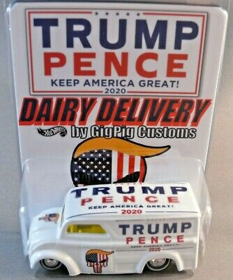 TRUMP DAIRY DELIVERY GigPig Customs Hot Wheels Pence 2020 Milk Truck The Donald