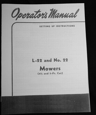 Ih International Cub Lo Boy L22 No. 22 Farmall 140 Sickle Mower Owners Manual