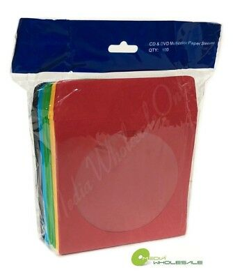 200 CD DVD Assorted Multi Color Paper Sleeves with Window and Flap -