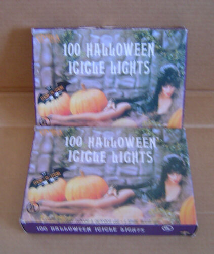Elvira Mistress of the Dark Halloween Icicle Lights 2 Boxes (100) Count NOS