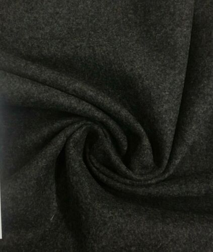 5.375 yds Charcoal Gray Mid Century Modern Heather Wool Upholstery Fabric PF