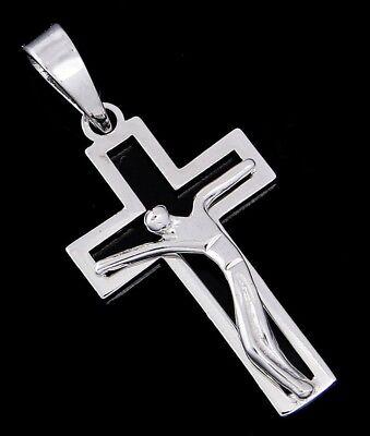 (Medium Modern Crucifix Cross in 14k SOLID White Gold)